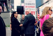 New York Ivory Crush in Times Square, June, 2015. Mr. Azzedine Downes, President and CEO of the International Fund for Animal Welfare - IFAW with Christina LaMonica.